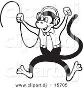 September 8th, 2015: Vector Clipart of a Black and White Monkey Jumping and Wearing Headphones by Lal Perera