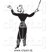 Vector Clipart of a Black and White Music Conductor by BestVector
