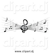 January 13th, 2015: Vector Clipart of a Black and White Stave and Music Notes by Vector Tradition SM