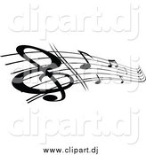 June 29th, 2015: Vector Clipart of a Black and White Stave and Music Notes by Vector Tradition SM