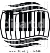 Vector Clipart of a Black and White Wavy Keyboard by Vector Tradition SM