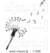Vector Clipart of a Black Dandelion Seedhead with Music Notes by Michael Schmeling