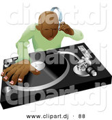 Vector Clipart of a Black DJ Mixing Hip Hop Records by AtStockIllustration