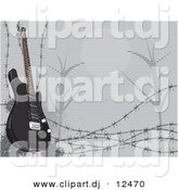 Vector Clipart of a Black Electric Guitar Featured with Barbed Wire and a Night Scene in the Background by David Rey