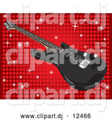 Vector Clipart of a Black Guitar on a Sparkling Red Disco Background by David Rey