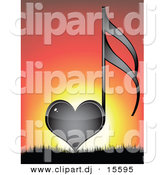 Vector Clipart of a Black Love Heart Music Note Against a Sunset Background by Andrei Marincas
