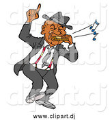 Vector Clipart of a Black Man Dancing and Playing Blues on a Harmonica by LaffToon