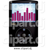 Vector Clipart of a Black Mp3 Music Player by Pams Clipart