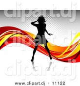 Vector Clipart of a Black Silhouetted Woman Wearing Headphones and Dancing over a Gray Background with Waves of Orange, Red and Yellow by KJ Pargeter
