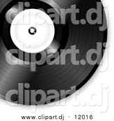 Vector Clipart of a Black Vinyl Record with a Blank White Label by Elaineitalia