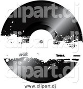 Vector Clipart of a Black Vinyl Record with White Grunge by Elaineitalia