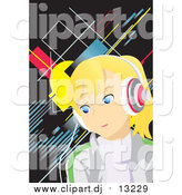 Vector Clipart of a Blond Girl Earing Music Headphones by Mayawizard101