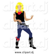Vector Clipart of a Blond Rock Star Man Playing an Air Guitar by Pams Clipart