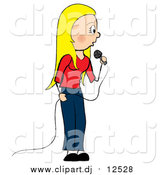 March 9th, 2016: Vector Clipart of a Blond White Female Singer Standing by Pams Clipart