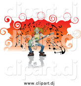 June 5th, 2015: Vector Clipart of a Blond White Man with Long Hair, Grinning and Playing a Guitar by Frisko
