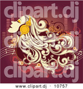 Vector Clipart of a Blond Woman Closing Her Eyes and Listening to Music Through Headphones by OnFocusMedia