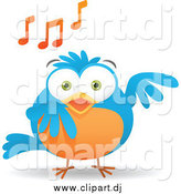 Vector Clipart of a Blue and Orange Bird Singing by Qiun