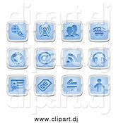 Vector Clipart of a Blue and Silver Square Communication Icons by AtStockIllustration