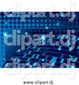 Vector Clipart of a Blue Disco Ball Background with Sparkles by MilsiArt