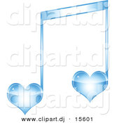 Vector Clipart of a Blue Love Heart Music Note by Andrei Marincas