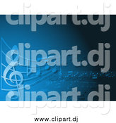 Vector Clipart of a Blue Music Note Background by KJ Pargeter