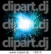 Vector Clipart of a Blue Music Notes and Stars Burst Background on Black by KJ Pargeter