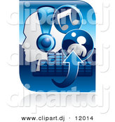 Vector Clipart of a Blue Music Related Icon Featuring Person Wearing Headphones, Arrows, Equalizer, and Music Notes by Alexia Lougiaki