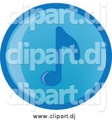 Vector Clipart of a Blue Round Music Note Icon by Rosie Piter