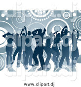 October 13th, 2014: Vector Clipart of a Blue Silhouetted Group of Dancers over Circles and Spirals by KJ Pargeter