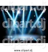 Vector Clipart of a Blue Spot Lights Shining over a Stage by AtStockIllustration