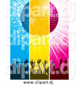Vector Clipart of a Blue, Yellow and Pink Panels of Silhouetted Concert Crowd Hands Under a Disco Ball by Elaineitalia