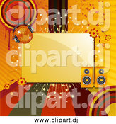 Vector Clipart of a Box Bordered with Colored Lines, Circles, Grunge, Flowers, Speakers and a Disco Ball by Elaineitalia