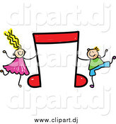 Vector Clipart of a Boy and Girl Dancing with a Red Music Note by Prawny