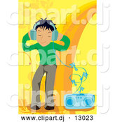 Vector Clipart of a Boy Listening to Music over Yellow and Orange by Mayawizard101