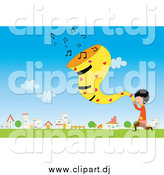 Vector Clipart of a Boy Singing in a Field by a Village by Mayawizard101