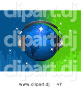 Vector Clipart of a Bright Blue Disco Globe Wearing Headphones over a Green and Blue Equalizer Background by Elaineitalia