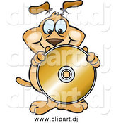 July 26th, 2015: Vector Clipart of a Brown Dog Holding up a Blank Golden Cd or Dvd by Dennis Holmes Designs