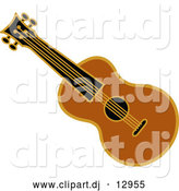 Vector Clipart of a Brown Ukulele Instrument by Andy Nortnik