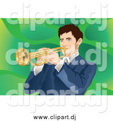 May 21st, 2015: Vector Clipart of a Brunette White Man Playing a Trumpet, over Green by Mayawizard101
