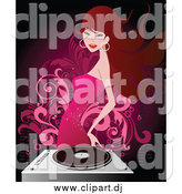 Vector Clipart of a Brunette White Woman in a Pink Dress Dancing by a Record Player by OnFocusMedia