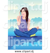 Vector Clipart of a Brunette White Woman Listening to Music on a Cloud by Mayawizard101
