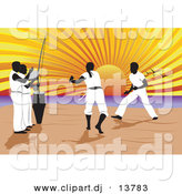 Vector Clipart of a Capoeira of Music and Martial Arts on a Beach with Sun Setting in Background by David Rey