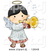 Vector Clipart of a Cartoon Angel Playing Musical Horn Instrument by BNP Design Studio