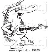 Vector Clipart of a Cartoon Australian Echidna Playing Guitar - Outline by Dennis Holmes Designs