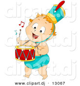 Vector Clipart of a Cartoon Baby Drummer by BNP Design Studio