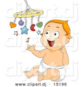 Vector Clipart of a Cartoon Baby Playing with a Mobile Music Toy by BNP Design Studio