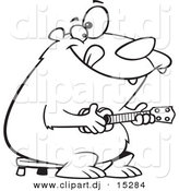 Vector Clipart of a Cartoon Bear Playing a Ukelele - Coloring Page Outline by Toonaday