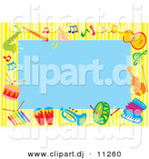 Vector Clipart of a Cartoon Blue Background Bordered by Colorful Music Instruments by Alex Bannykh