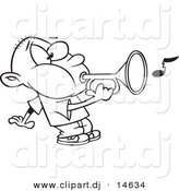 Vector Clipart of a Cartoon Boy Playing a Bugle - Coloring Page Outline by Toonaday
