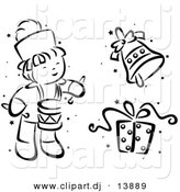 Vector Clipart of a Cartoon Christmas Drummer, Bell and Gift - Black and White Digital Collage by BNP Design Studio